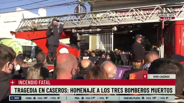 Tragedia en Caseros: homenaje a los tres bomberos muertos