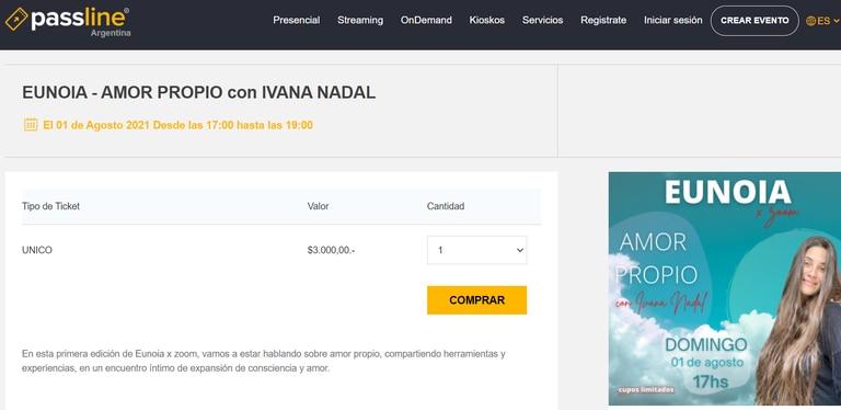 El costo del ticket para participar de curso de Ivana Nadal