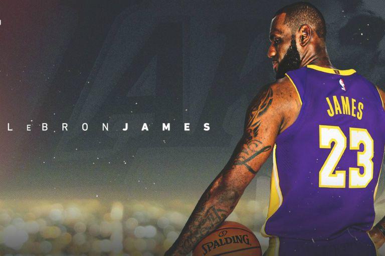 El afiche con LeBron y su nueva camiseta: la de los Lakers