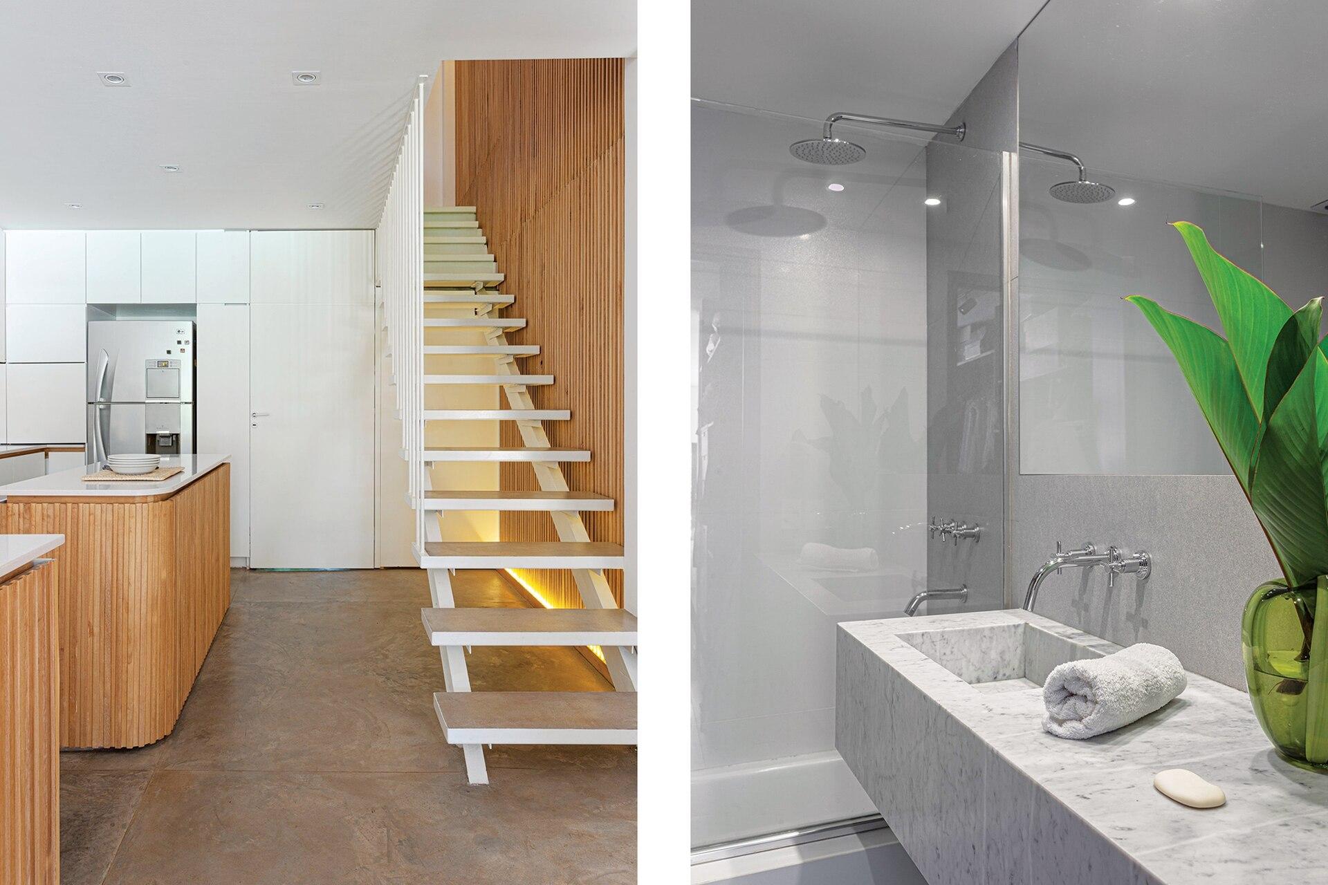 La escalera se armó con peldaños de chapa rellenos con el mismo cemento alisado del piso, para dar continuidad; la baranda, con varillas de hierro pintadas en blanco.