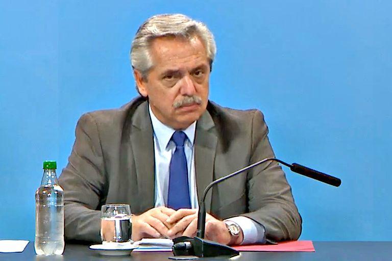 El presidente Alberto Fernández durante la conferencia de prensa donde se anunció la suba de las jubilaciones
