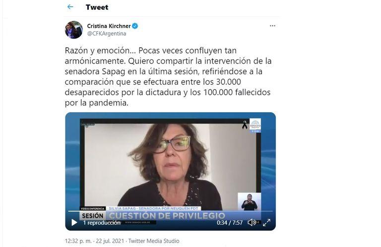 El tuit de Cristina Kirchner que halagó la exposición de la senadora Silvia Sapag