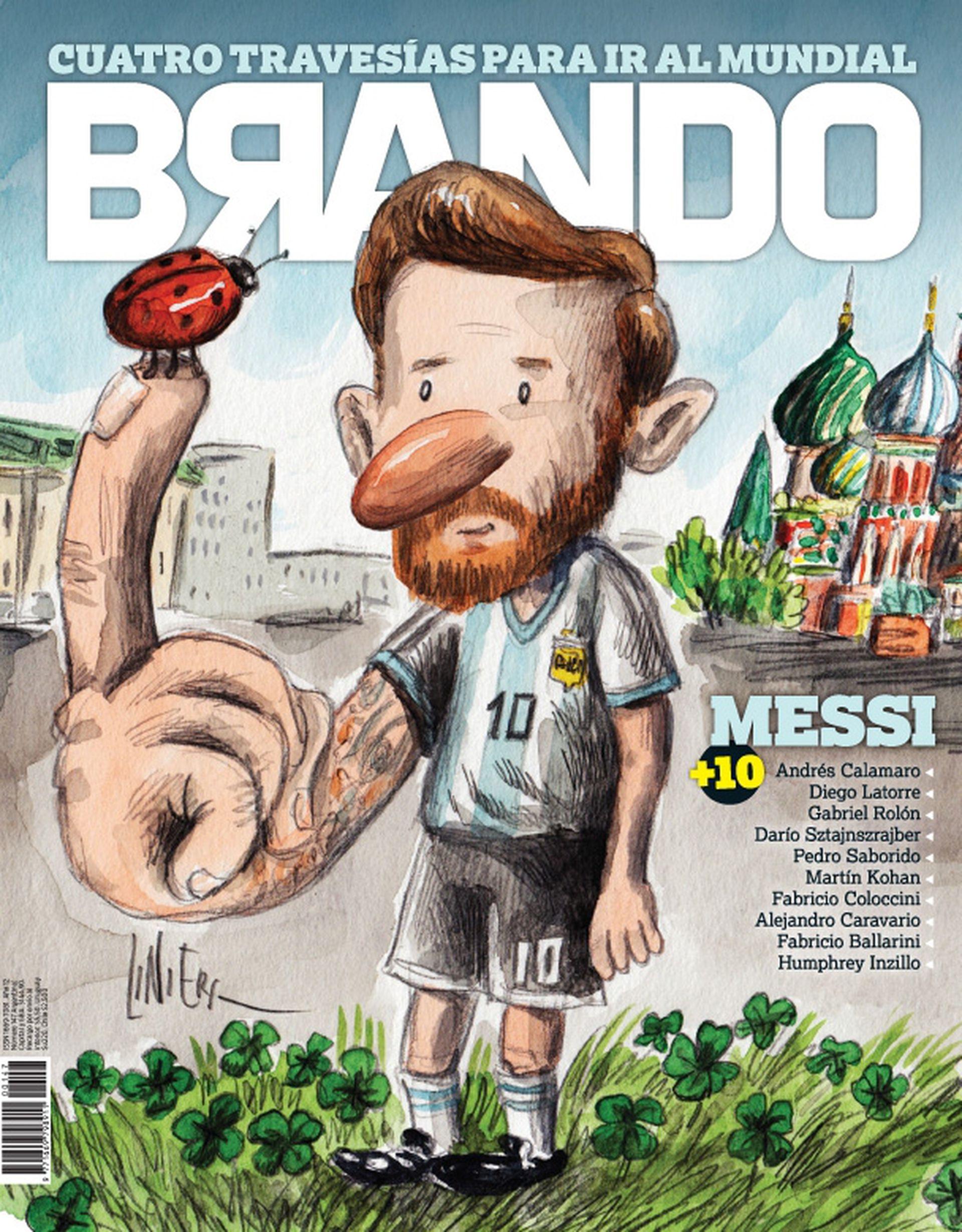 """La tapa """"amuleto"""" que Liniers pensó para la edición mundialista de Brando."""