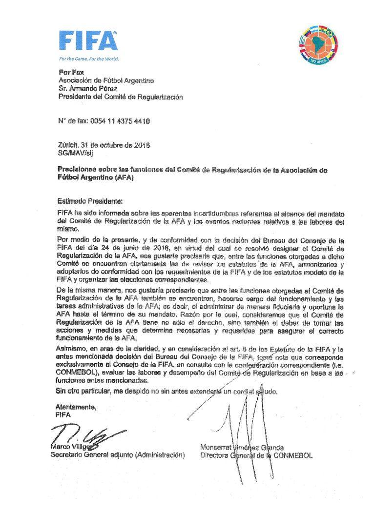 El comunicado de FIFA