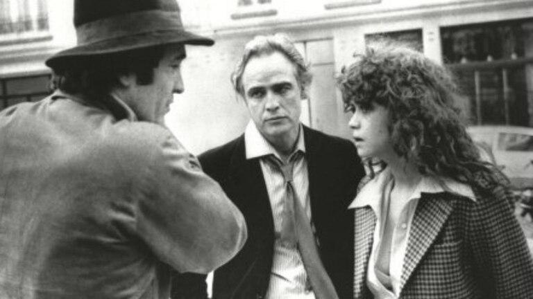 Bernardo Bertolucci, Marlon Brando y Maria Schneider en el rodaje de El último tango en París