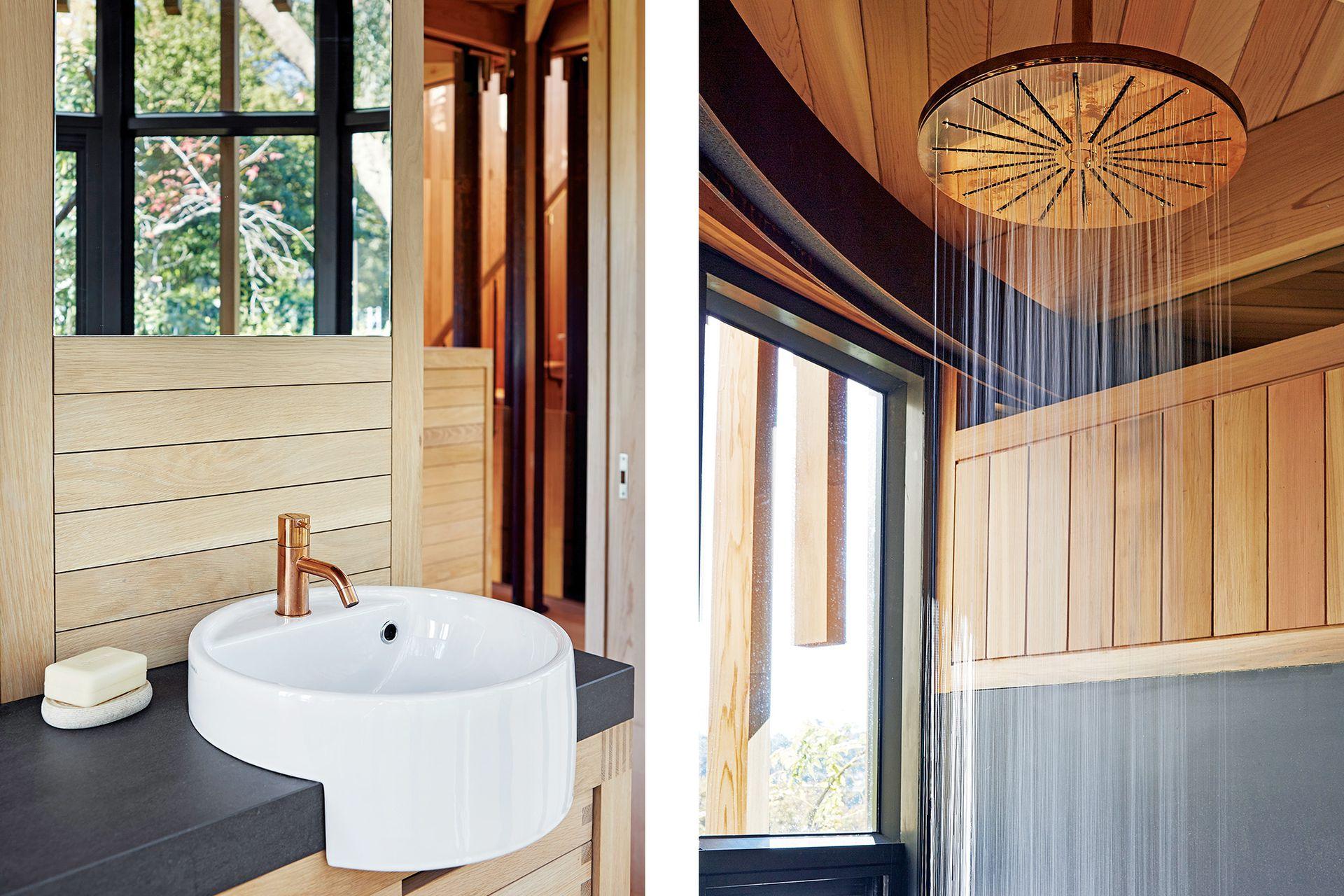 El amoblamiento del baño sigue la línea del dormitorio.
