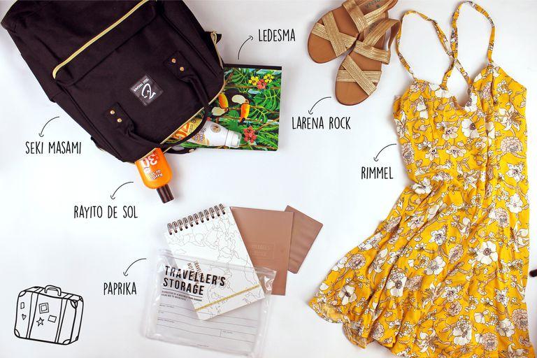 Mochila viajera $1200 de Seki Masami / Cuaderno $100 de Ledesma / Protectores de Rayito de Sol / Sandalias $680 de Larena Rock / Vestido $728 de Rimmel / Travel Kit $410 de Paprika