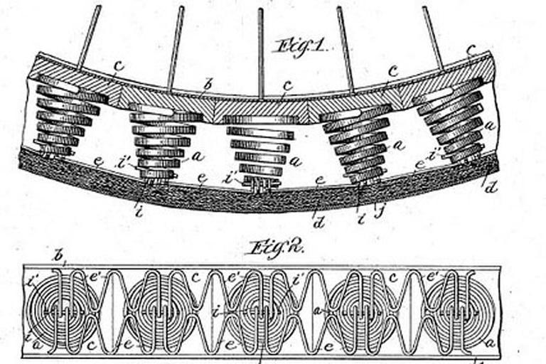 """Patente alemana de finales del siglo XIX con el diseño de las """"Spring Wheels"""""""