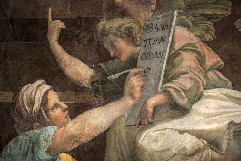 Detalle de la obra de Rafael, genio del renacimiento del que se conmemoran los 500 años de su muerte