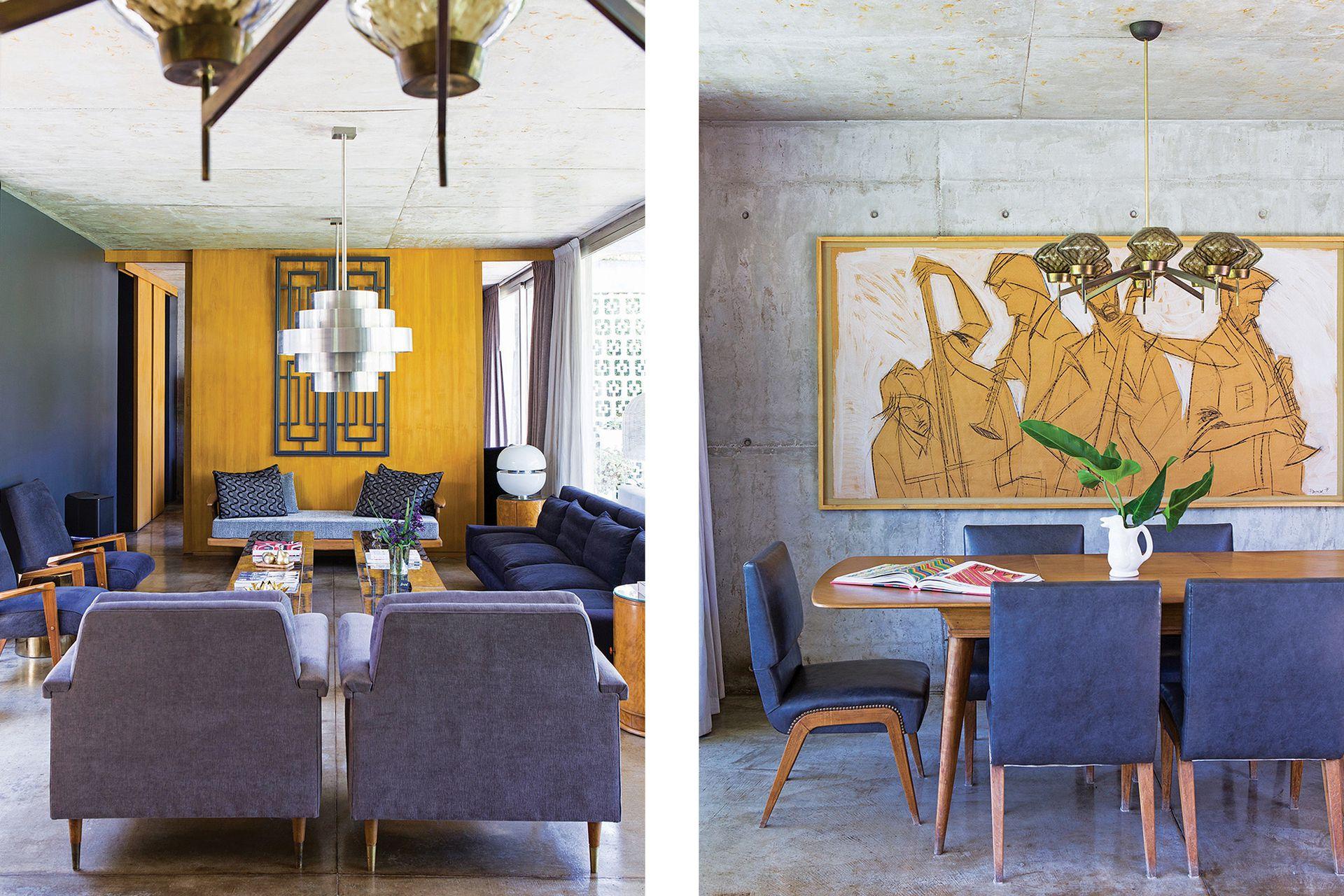 Contra el ventanal, sofá años 70 (Chez Carolaine Decor) enfrentado a dos asientos con apoyabrazos de madera muy fifties (regalo de un amigo).