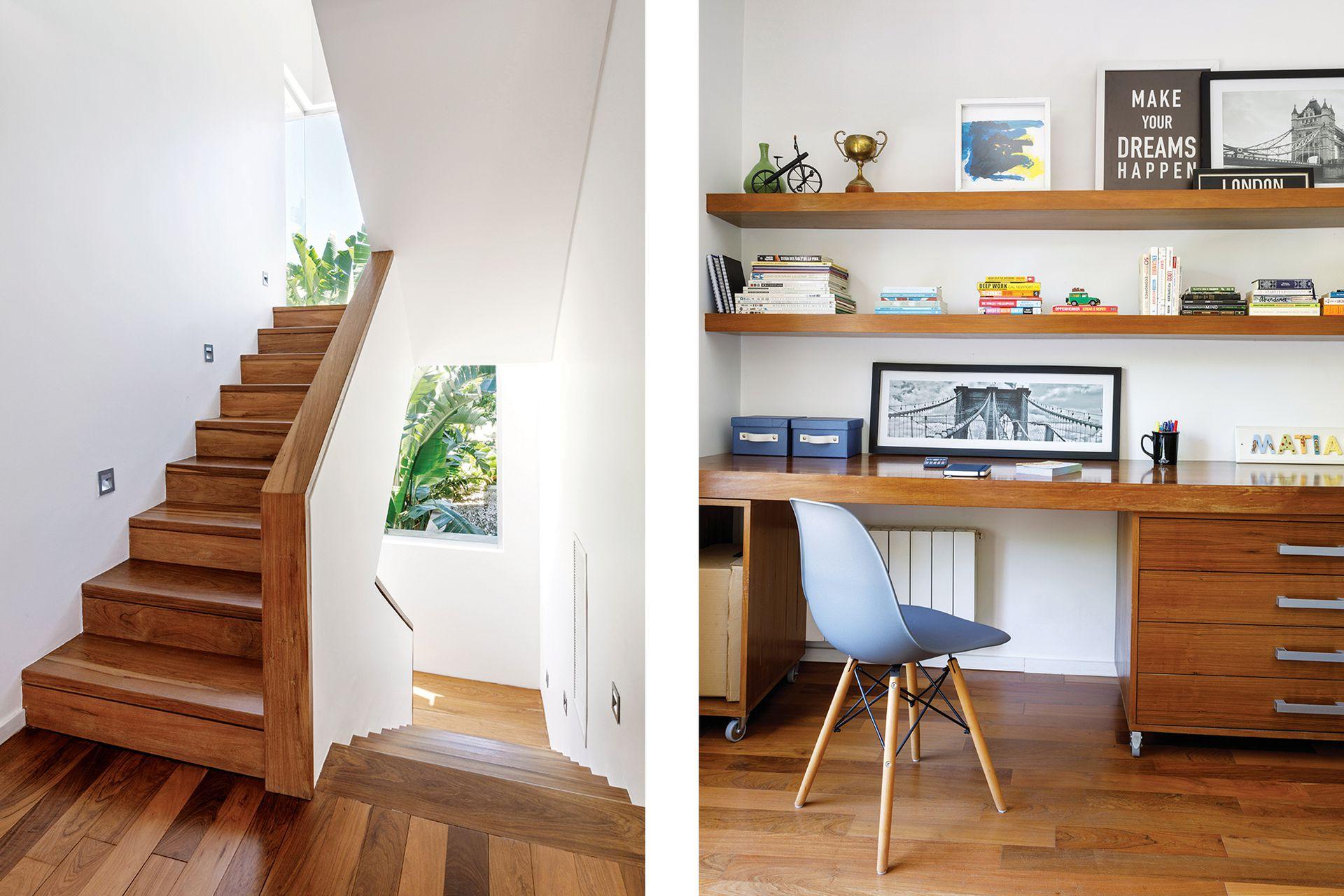 Como no podía ser de otro modo, la caja de la escalera también tiene aberturas que enmarcan el paisaje. En el cuarto del hijo varón, mueble con escritorio diseñado por Carla Bechelli Arquitectos.