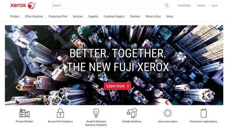 La combinación (como la denominan desde Xerox) con la compañía japonesa, en la portada del sitio del inventor de la fotocopia; el auge y caída de los colosos tecno parece ser una constante