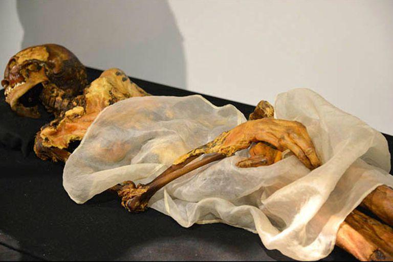 """La """"princesa de Ukok"""", una momia de 2500 años de edad con el cuerpo tatuado y hallada en 1993 con una bolsa de marihuana y joyas"""