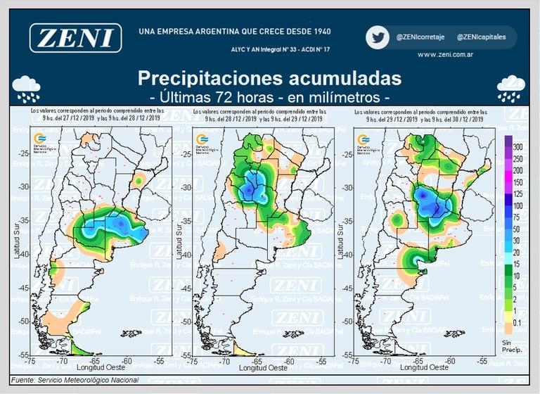 Las lluvias de las últimas 72 horas