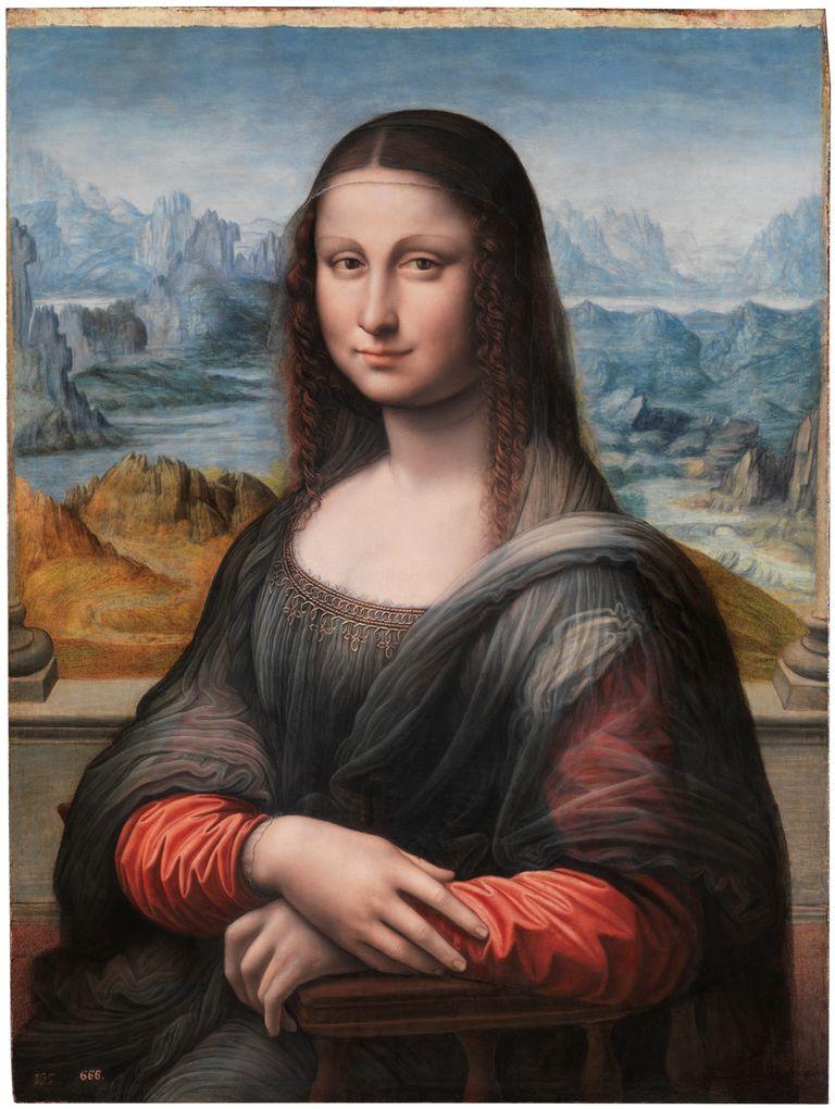 Del taller de Da Vinci proviene este óleo del Museo del Prado: mientras la auténtica Gioconda está pintada de negro y amarillo, la de Madrid lleva velo blanco y vestido rojo