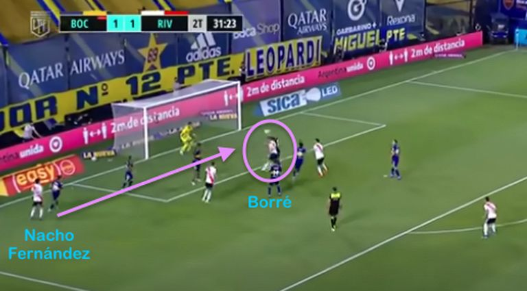 Centro de Nacho Fernández y gol de Rafael Santos Borré a Boca, en el empate de River 2-2 en la Bombonera, también durante 2021