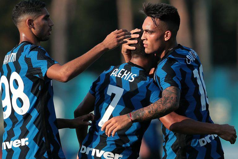 Lautaro Martínez hizo dos goles en el amistoso entre Inter y Lugano, asistido por Alexis Sánchez