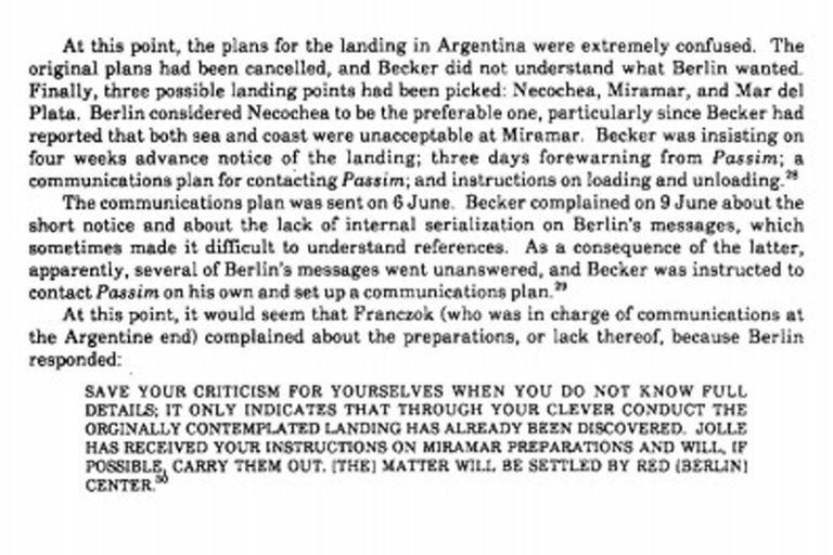 """Una página del documento el documento """"German Clandestine Activities in South America in World War II"""", escrito por David P. Mowry en 1989 para la Agencia Nacional de Seguridad (NSA)"""