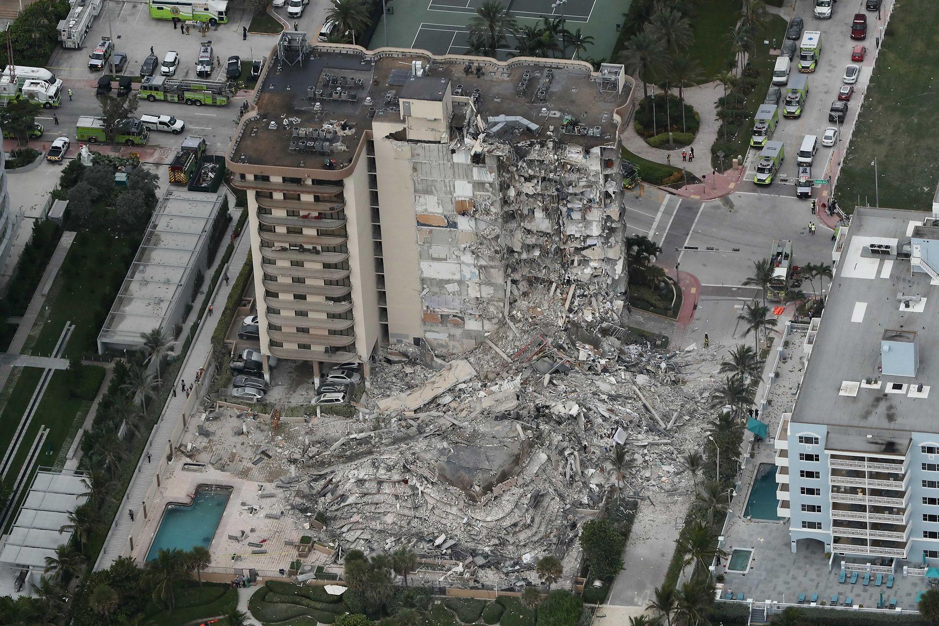 Impactante vista de como quedó el edificio tras el derrumbe