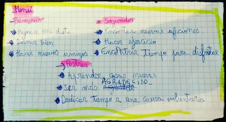 """El """"menú"""" de autosuperación recomendado por Sofía Bauzá en su perfil de Instagram Coaching del ACV"""