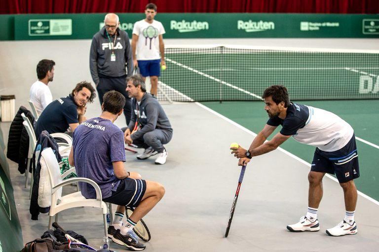 La nueva Copa Davis. La Argentina entra en ritmo: primer entrenamiento en Madrid