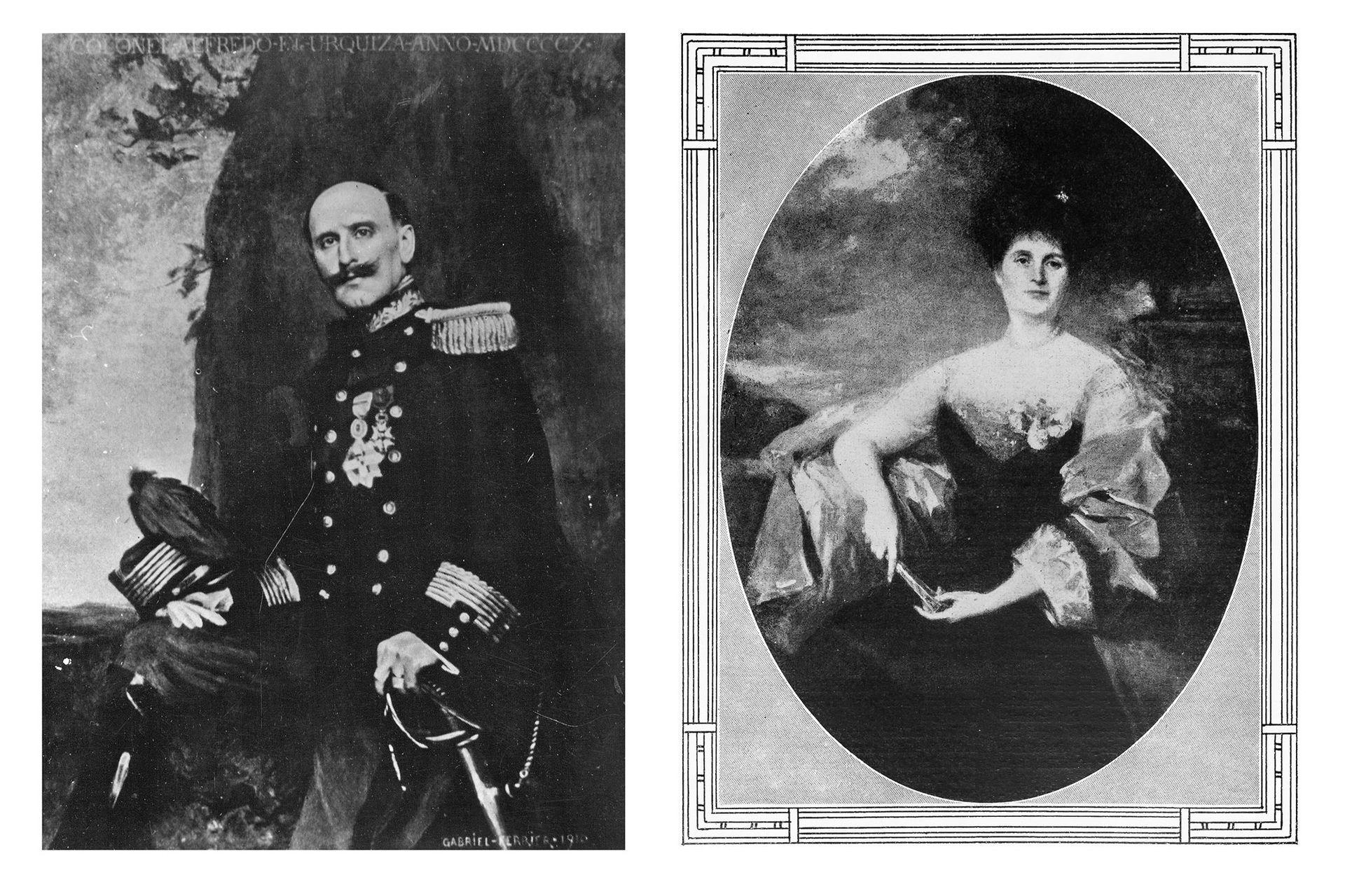 Retrato del coronel Alfredo Urquiza por Ferrier (1910). Su esposa, Lucila Anchorena.