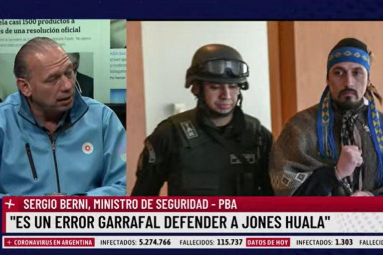 """Sergio Berni: """"Es un error garrafal defender a Jones Huala"""""""