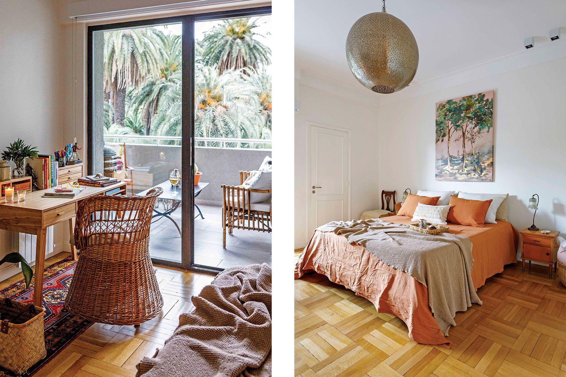 Lámpara de techo (Rapsodia). Silla, cama y mesas de luz heredadas. Veladores (Desde Asia). Cuadro (Cata Ruiz). Ropa de cama, pie, manta y almohadones (todo de Lote Propio).