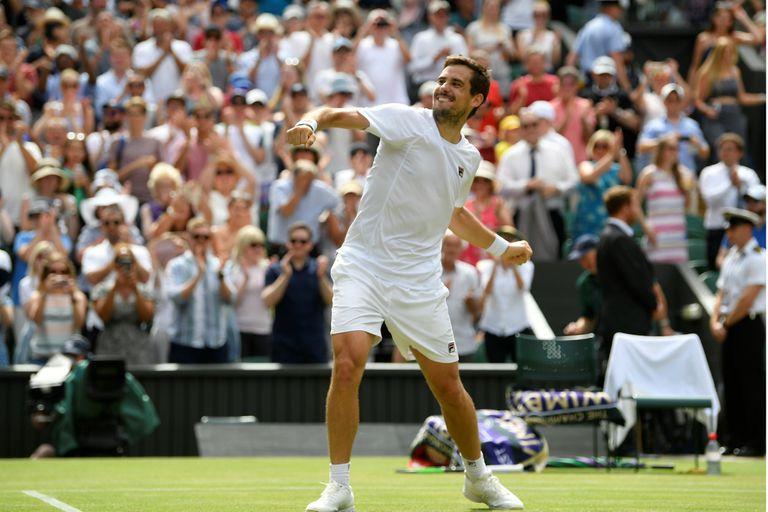 Guido Pella en Wimbledon 2019, un torneo soñado, en el que alcanzó los cuartos de final.