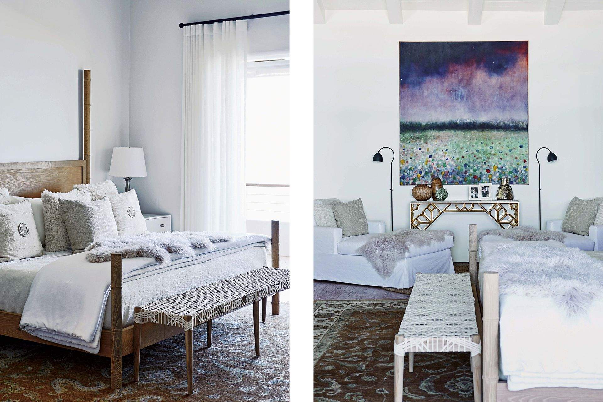 La cama, creada por Kim, se complementó con una banqueta con tientos de cuero tejidos a mano y un cuadro de Alexia Vogel.