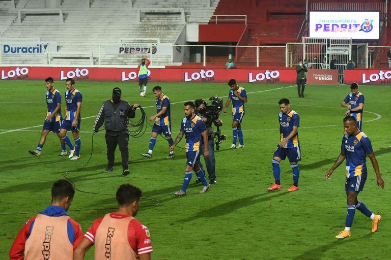 Escena del partido que disputan Unión de Santa Fe y Boca Juniors por la Copa Liga Profesional 2021