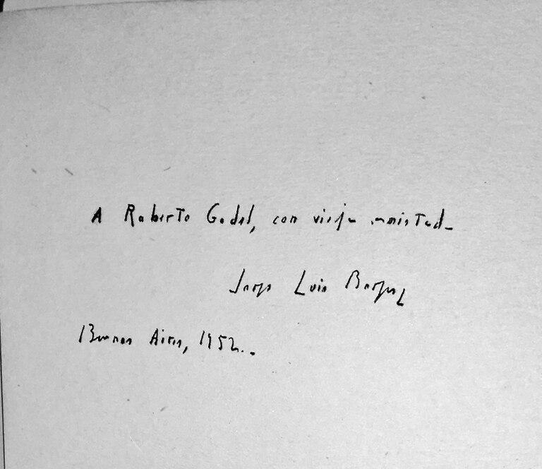 Dedicatoria de Borges a su amigo, el poeta Roberto Godel