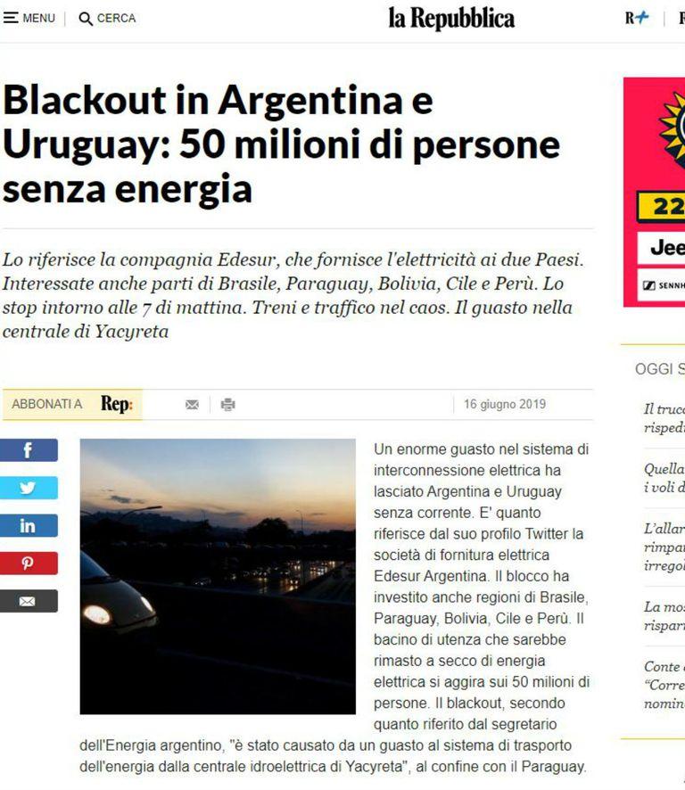 La República de Italia se refiere a 50 millones de personas sin energía