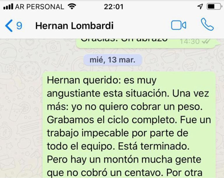 WhatsApp de Federico Andahazi a Hernán Lombardi.
