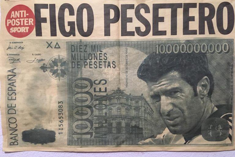 """El """"antiposter"""" del diario Sport, de Barcelona, en alusión al cambio de vereda de Figo"""