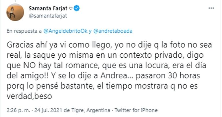 Samanta Farjat desmintió estar saliendo con Gerardo Sofovich y aseguró que hubo un malentendido con la información que Andrea Taboada dio en LAM
