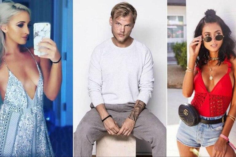 Avicii, bien rodeado por dos modelos que fueron sus novias: Emily Goldberg (la rubia) y Raquel Bettencourt (la morena)
