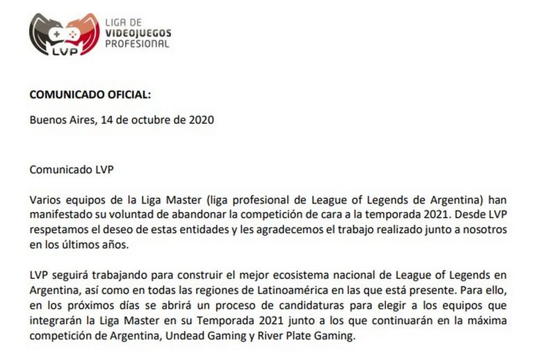 El comunicado oficial de la LVP sobre la nueva temporada 2021 de la Liga Master de League of Legends