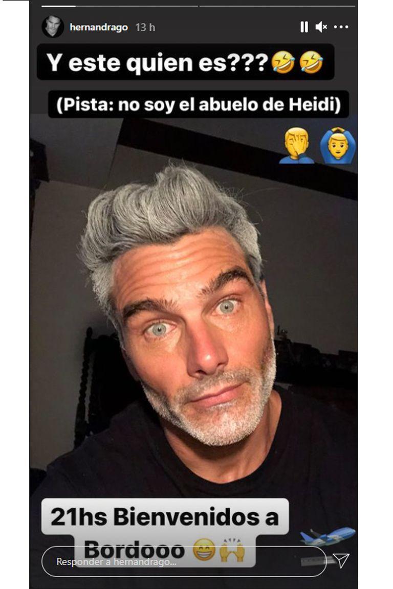 Hernán Drago mostró su nuevo look, al igual que Ricky Martin, se tiñó temporalmente el pelo y la barba de blanco