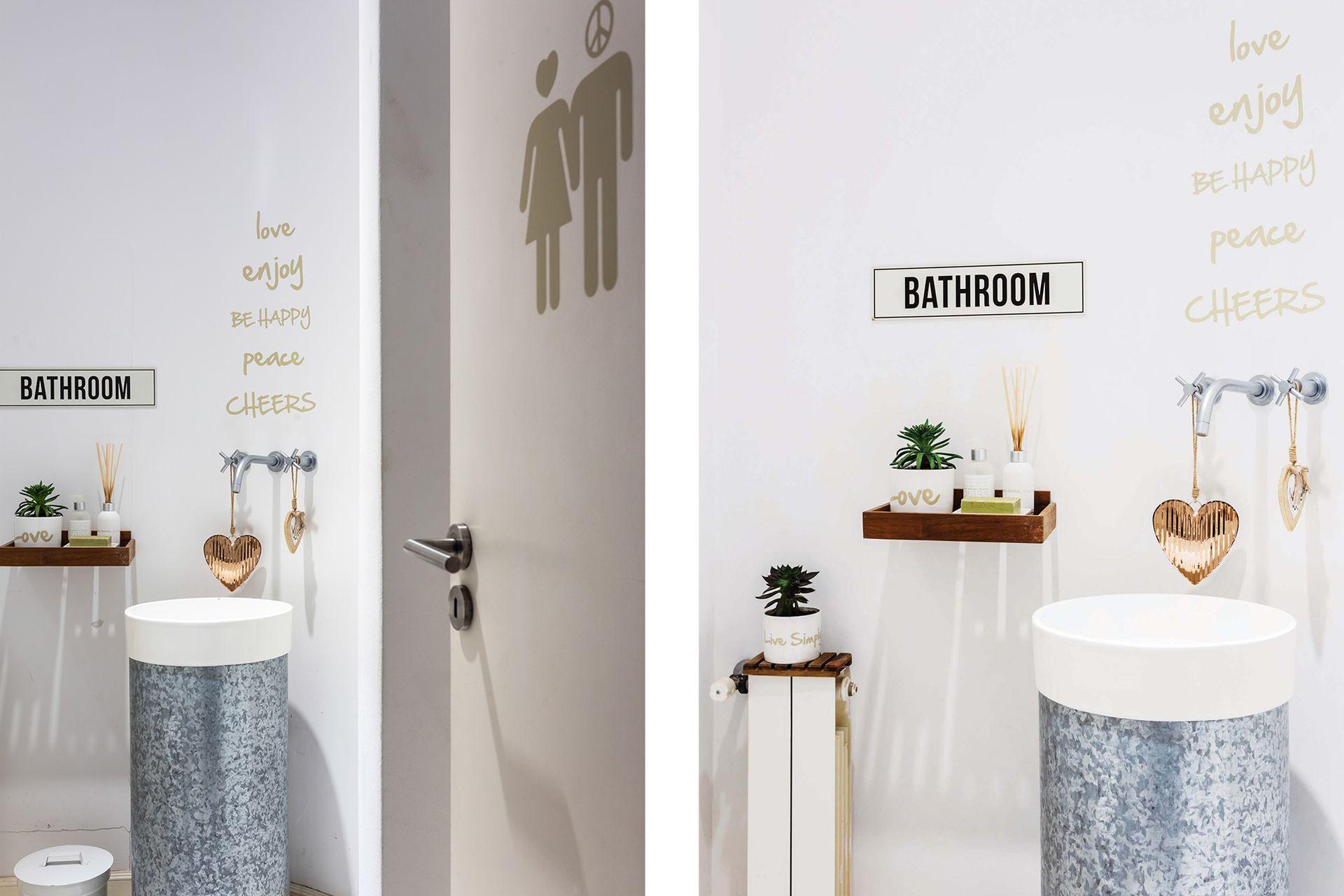 El toilette tiene bacha circular (Ferrum) sobre una base de zinc y grifería (FV).
