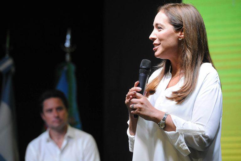 La gobernadora bonaerense durante el discurso que dio ante 4000 personas