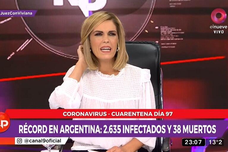 """Viviana Canosa, durante la apertura de la emisión """"Nada personal"""" (elnueve) del miercoles 24 de junio de 2020"""