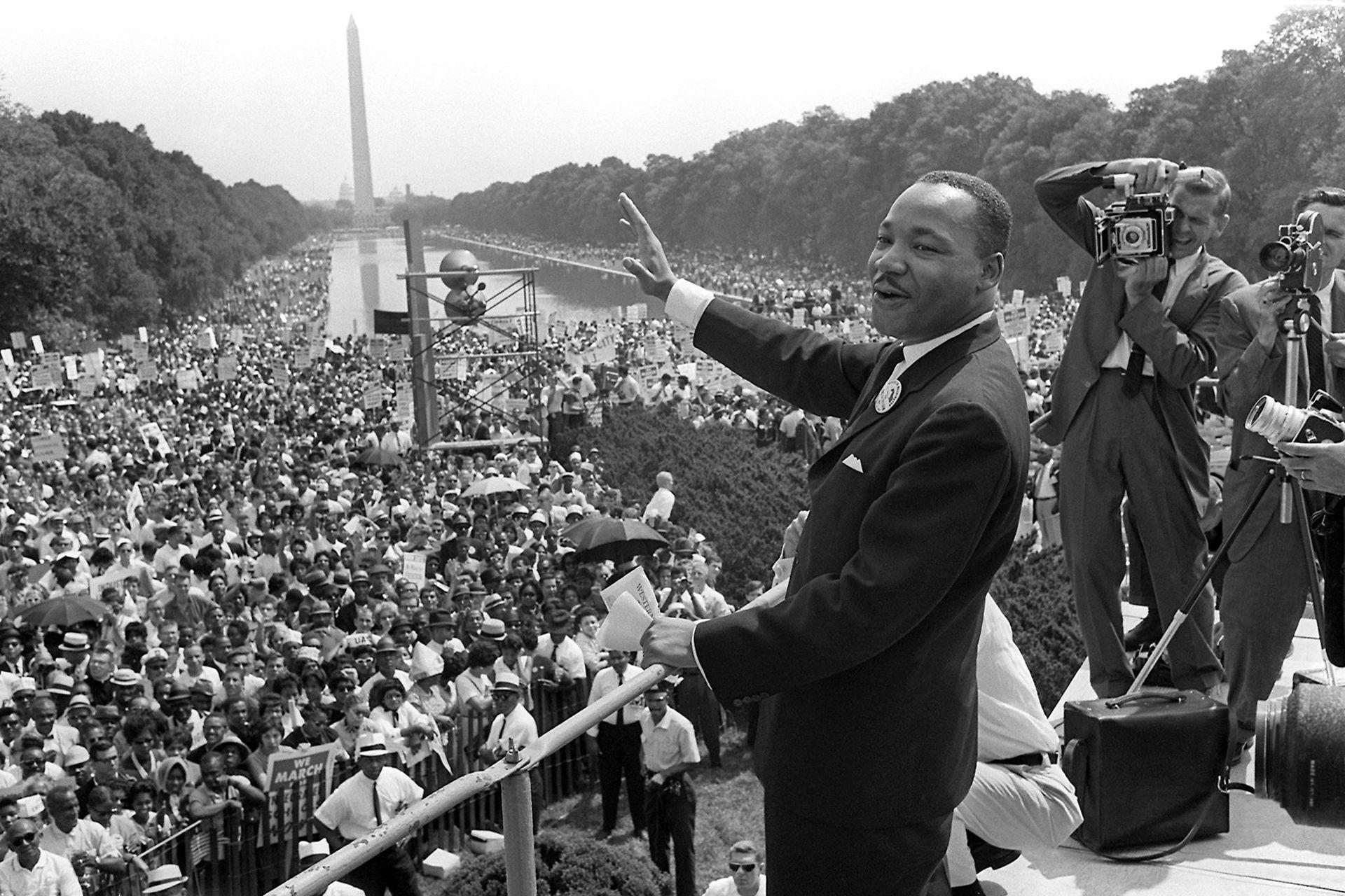 Durante el histórico discurso