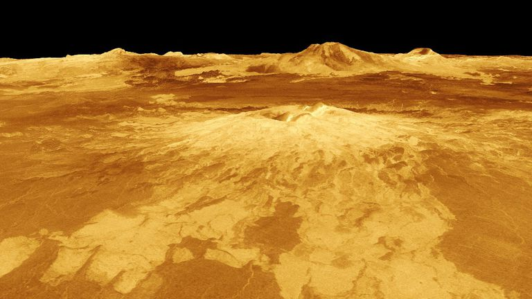 Imagen generada por computadora de Sapas Mons, uno de los volcanes de Venus