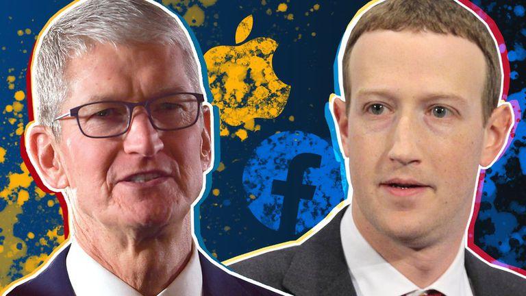 El director ejecutivo de Facebook, Mark Zuckerberg, y el director ejecutivo de Apple, Timothy Cook