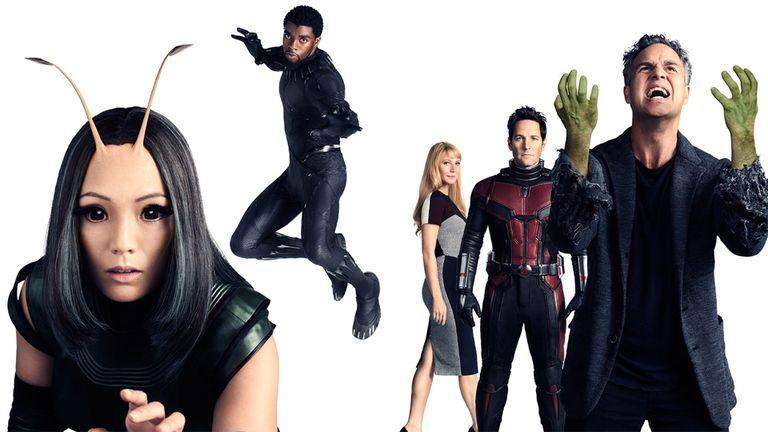 Pom Klementieff (Mantis), Chadwick Boseman (Pantera Negra), Gwyneth Paltrow (Pepper Potts), Paul Rudd (Ant-Man), y Mark Ruffalo (Bruce Banner)