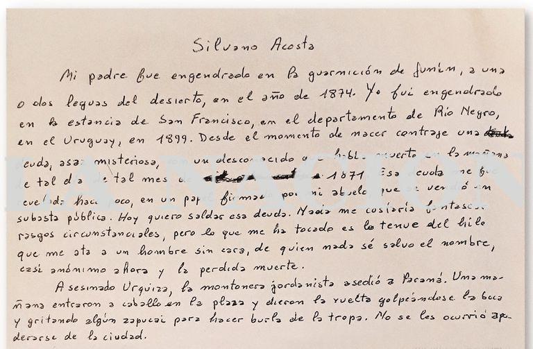 """""""Silvano Acosta"""", el texto inédito de Borges"""