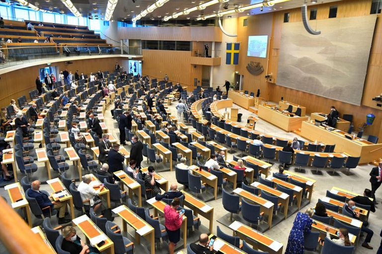 El parlamento sueco durante la votación