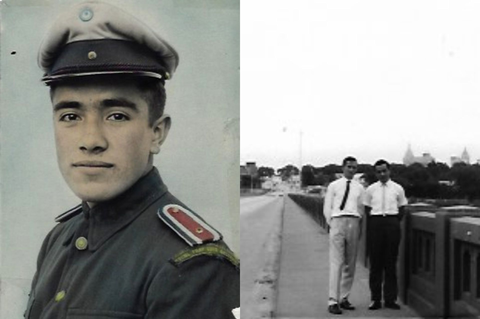 Izquierda: En tiempos de la escuela militar. Derecha: junto a su amigo mendocino que conoció en la embajada, caminando por Oklahoma City.