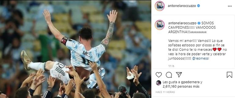 El posteo de Antonela dedicado a Messi tras la victoria. Fuente: Instagram